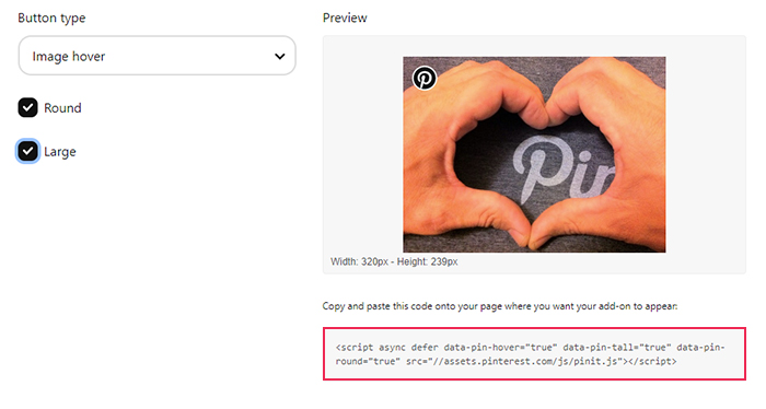 Pinterest Widget Builder Button Type Code