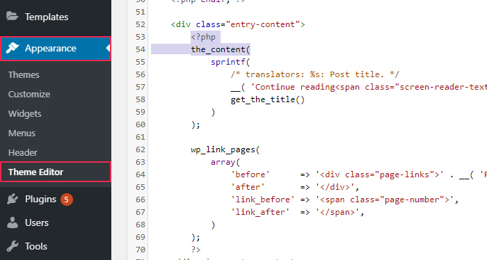 Theme Editor Excerpt Code