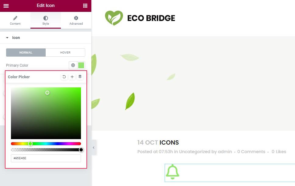 Elementor Icon Color