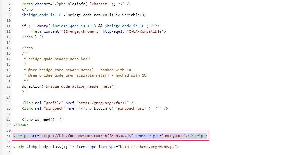 Header Edit Code