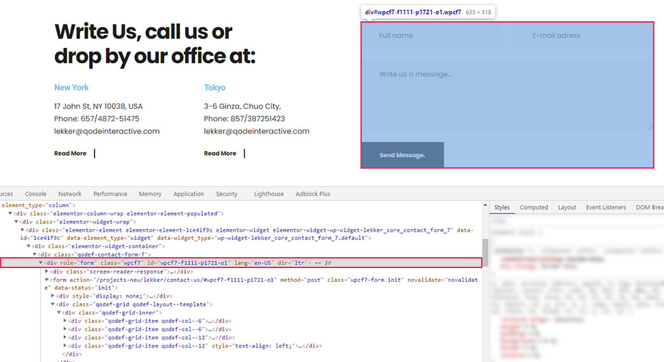 Inspect Contact Form
