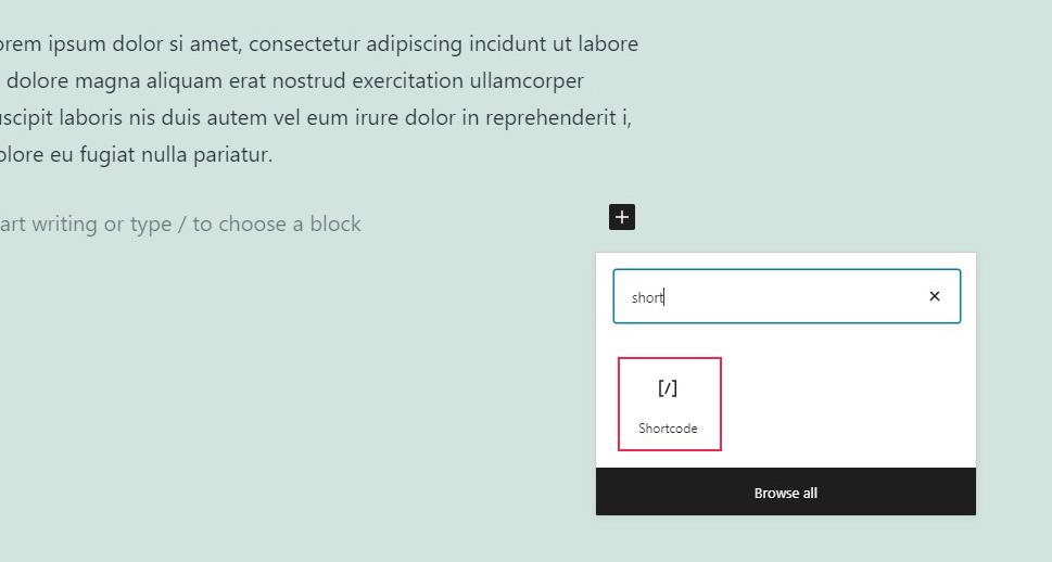 Add Shortcode Block