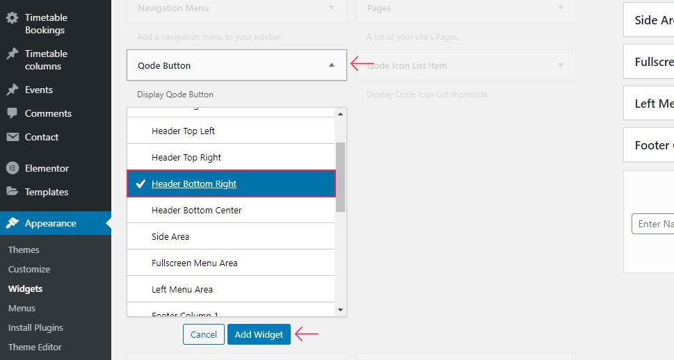 Add Qode Button Widget