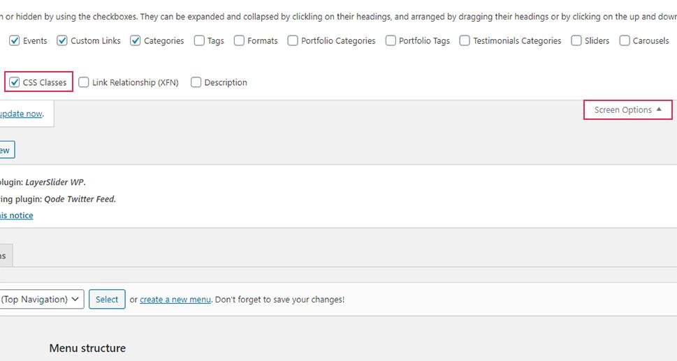 Screen Options CSS Classes