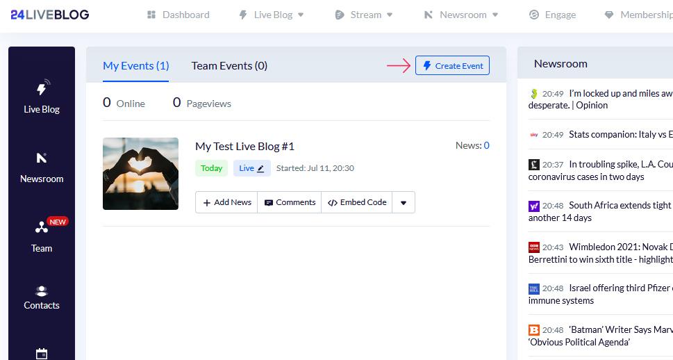 24liveblog Create Event