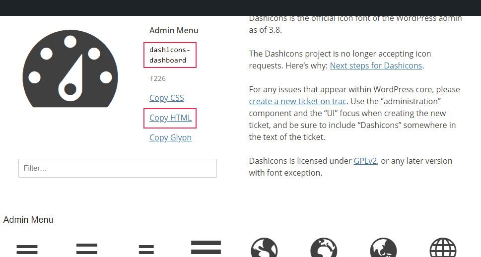 Admin Menu Copy HTML