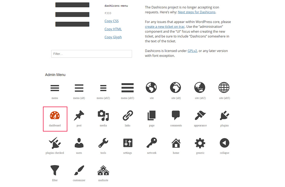 Dashicons page
