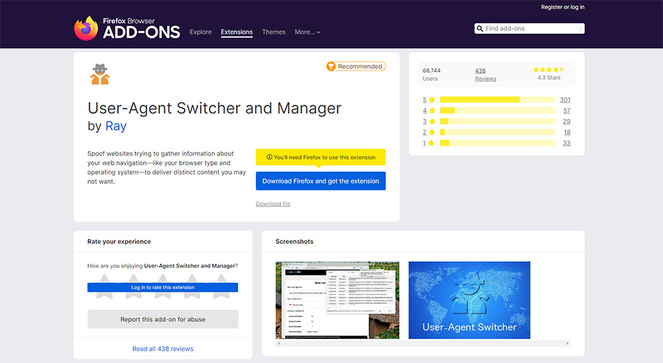 User-Agent Switcher and Manager