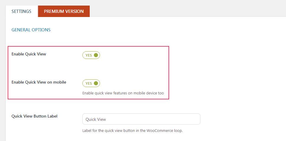 Enable Quick View Option