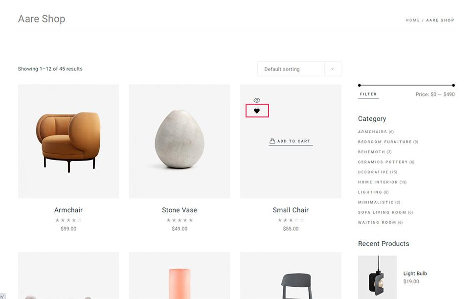 Product Added to Wishlist Display