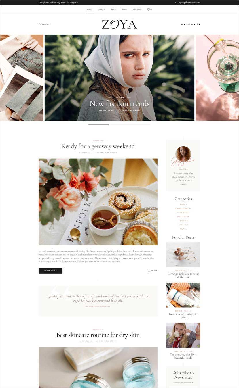 Zoya WordPress Theme